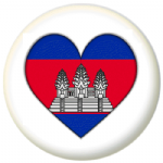 Cambodia Country Flag Heart 25mm Pin Button Badge